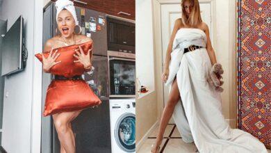 """Photo of Подушка та ковдра замість сукні: як зірки в Україні та світі приміряють """"карантинний"""" тренд"""