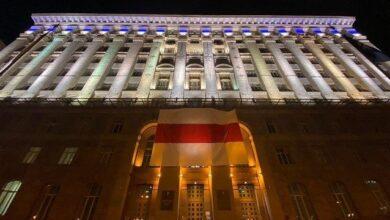 Photo of Жыве Беларусь! На будівлі КМДА повісили прапор білоруського протесту