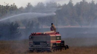 Photo of На Херсонщині горить військовий полігон: вогонь гасять пожежними танками