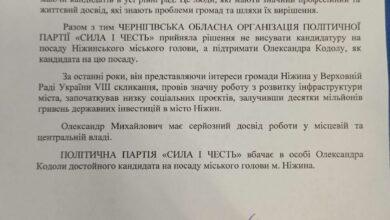 """Photo of Партія """"СИЛА І ЧЕСТЬ"""" підтримує Олександра Кодолу на виборах міського голови Ніжина"""