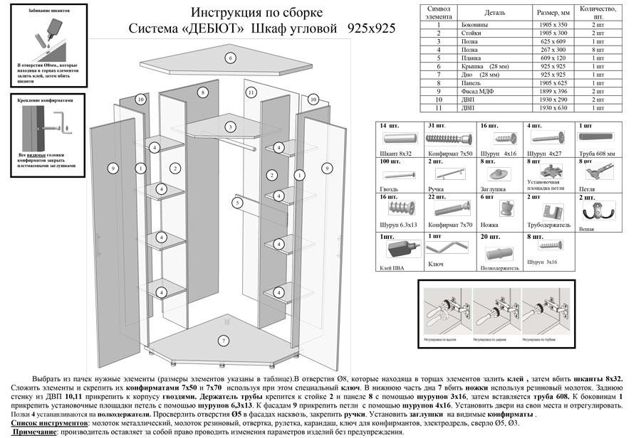 Схема сборки двери углового шкафа